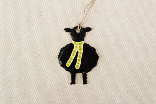 Sheep Ornament - Hand Painted Ceramic Sheep Ornament - Little Black Lamb