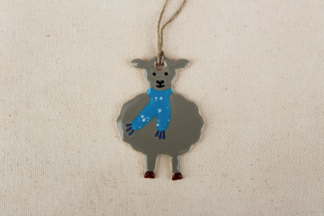 Sheep Ornament - Hand Painted Ceramic Sheep Ornament - Little Gray Lamb