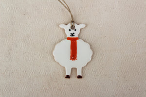 Sheep Ornament - Hand Painted Ceramic Sheep Ornament - Little White Lamb