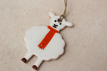 Cargar imagen en el visor de la galería, Sheep Ornament - Hand Painted Ceramic Sheep Ornament - Little White Lamb