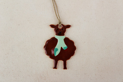 Sheep Ornament - Hand Painted Ceramic Sheep Ornament - Little Brown Lamb