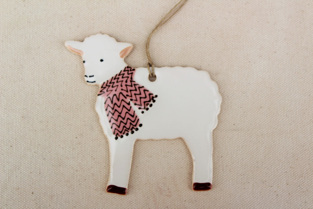 Sheep Ornament - Hand Painted Ceramic Sheep Ornament - White