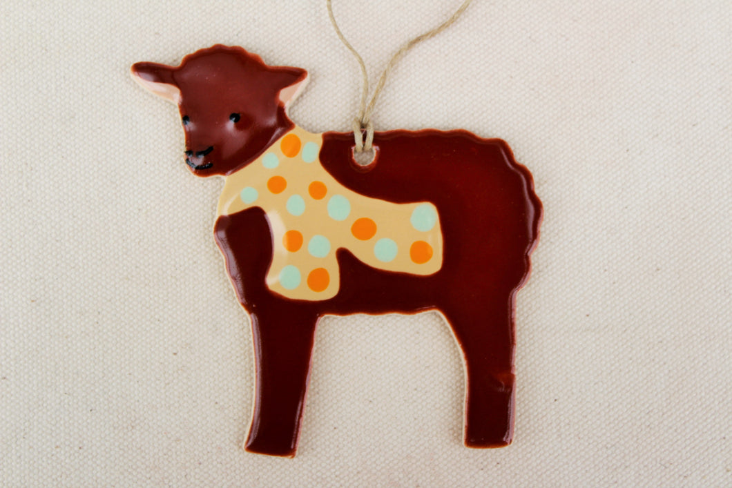 Sheep Ornament - Hand Painted Ceramic Sheep Ornament - Brown