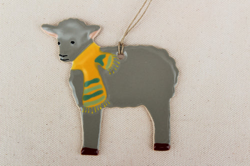 Sheep Ornament - Hand Painted Ceramic Sheep Ornament - Gray