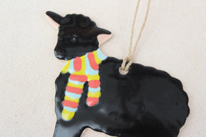 Sheep Ornament - Hand Painted Ceramic Sheep Ornament - Black