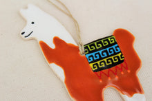 Load image into Gallery viewer, Llama Ornament - Hand Painted Ceramic Llama ornament - White + Brown