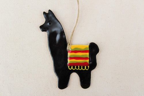 Llama Ornament - Hand Painted Ceramic Llama ornament - Black