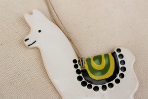 Llama Ornament - Hand Painted Ceramic Llama ornament - White