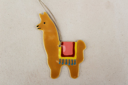 Llama Ornament - Hand Painted Ceramic Llama ornament - Brown - Fawn
