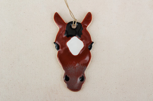 Brown + White Horse Ornament - Hand Painted Horse Ornament