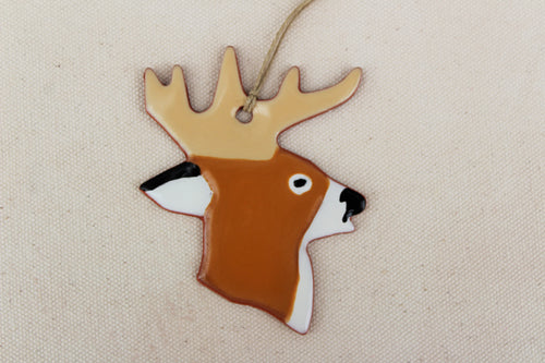 Deer Ornament - Ceramic Deer Ornament - White-Tailed Deer