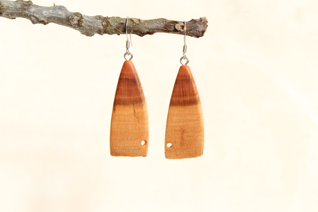 Natural Wooden Earrings - Cherry with heart + Sapwood - Live Edge Design