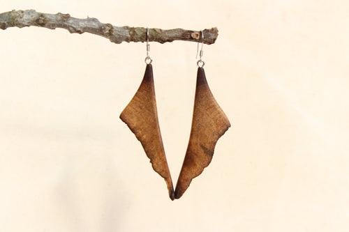 Natural Wooden Earrings - Black Walnut wood with scalloped live edge