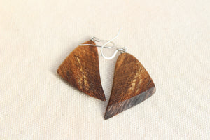Natural Wooden Earrings - Black Walnut wood with live edge