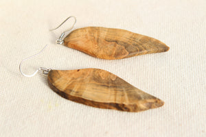 Natural Wooden Earrings - Maple Burl with Live Edge