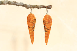 Natural Wooden Earrings - Spalted American Elm