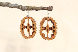 Natural Wooden Earrings - Black Walnut Shell