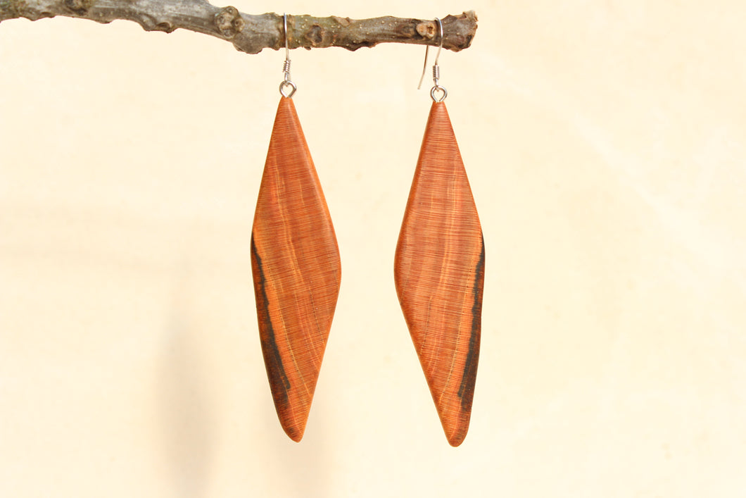 Natural Wooden Earrings - Cherry with heartwood + Mineral staining