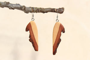 Natural Wooden Earrings - Maple with Bark - Live Edge