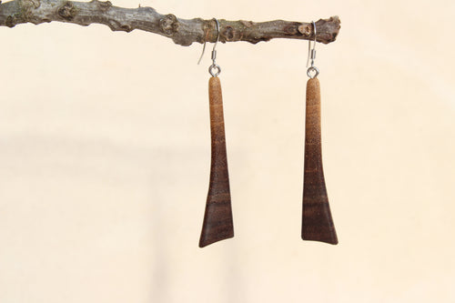 Natural Wooden Earrings - Black Walnut wood with live edge design