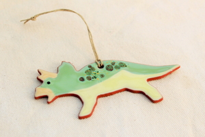 Dinosaur Ornament - Triceratops Ornament - Mint Green