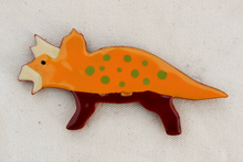 Load image into Gallery viewer, Dinosaur Magnet - Triceratops - Orange