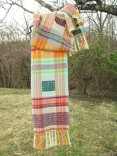 Load image into Gallery viewer, Handwoven Overshot Scarf - Linen + Wool + Organic Cotton