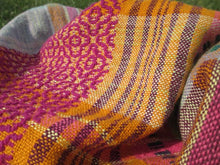 Load image into Gallery viewer, Handwoven Overshot Scarf - Linen + Wool - Organic Cotton