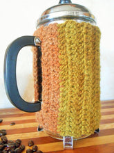 Load image into Gallery viewer, Hand-dyed Wool French Press Cozy with Locust Wood Buttons