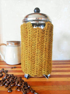 Hand-dyed Wool French Press Cozy with Locust Wood Buttons