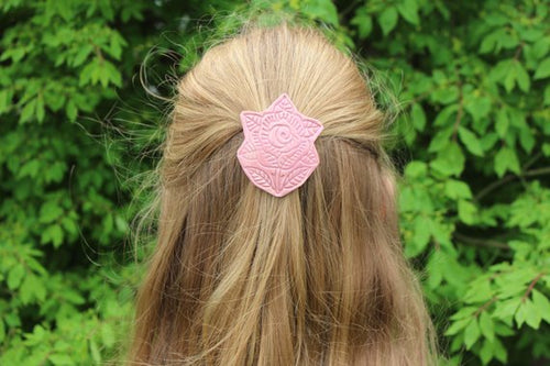 Ceramic French Barrette - Pink Flower