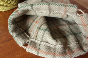 Upcycled Knitting Project Bag - Vintage Wool and Cotton - Drawstring Bag