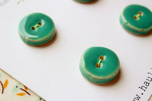 Round Ceramic Buttons - Green / Blue-green