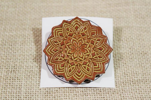 Ceramic Mandala Barrette-Red Clay - Yellow -Golden Brown