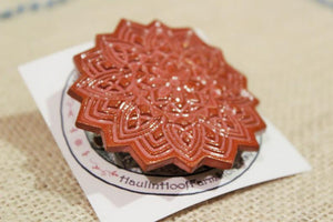 Ceramic Mandala Barrette-Red Clay - Rose Pink