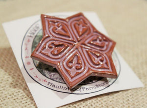 Ceramic Mandala Star Barrette-Red Clay - Purple - Lavender