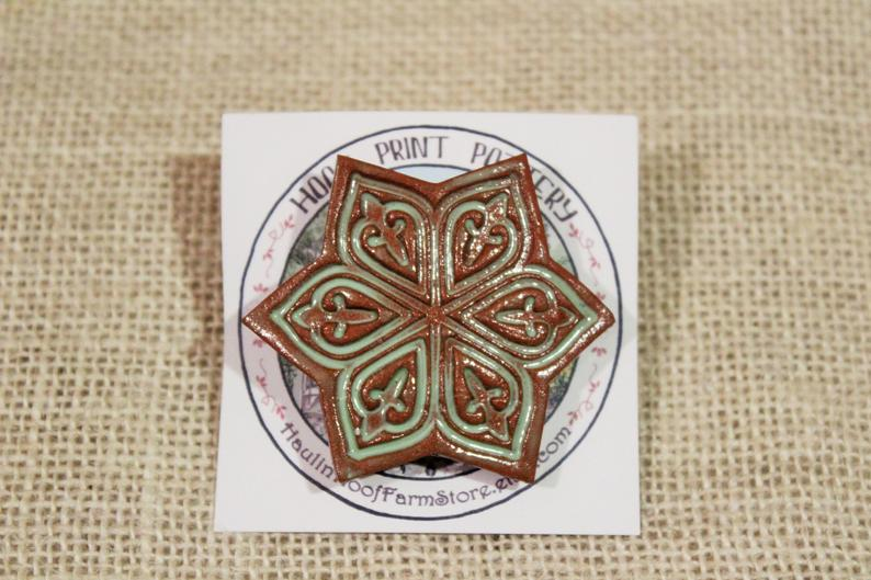 Ceramic Mandala Star Barrette-Red Clay - Green - Mint Green