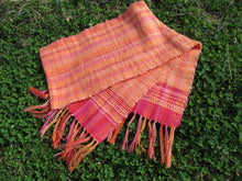 Load image into Gallery viewer, Handwoven Spring Scarf - Peach + Pink