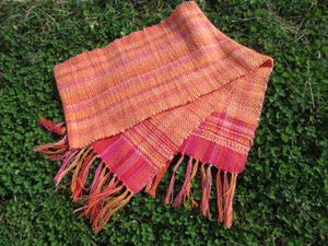 Handwoven Spring Scarf - Peach + Pink