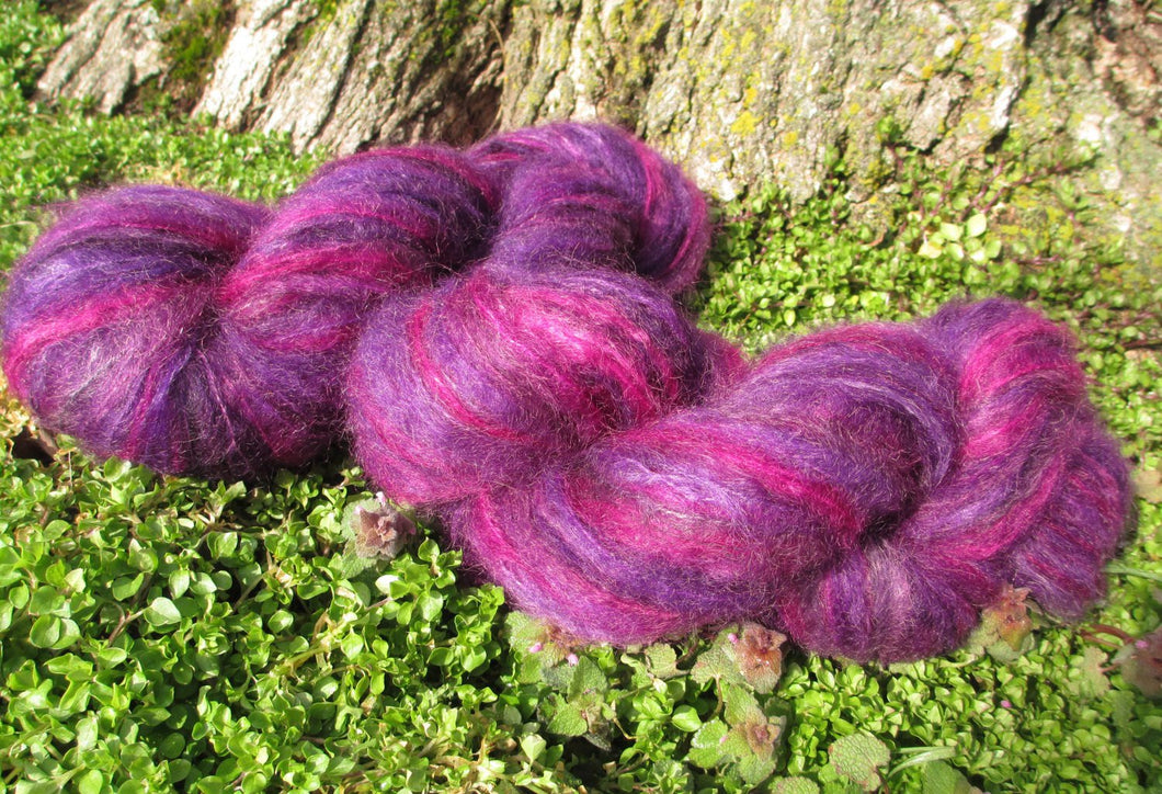 Hand dyed Mohair Yarn  - Brushed Mohair Yarn - Purple