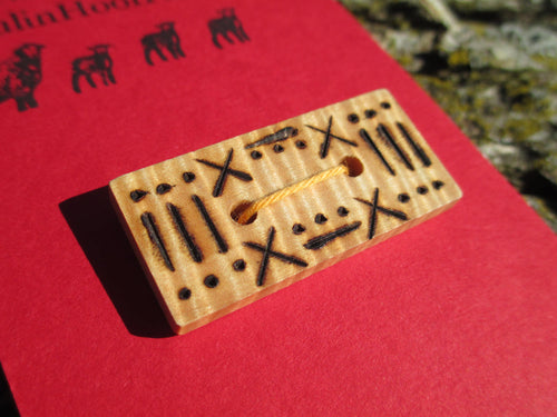 Tiger Maple Wood Button - Rectangular - Wood Burned