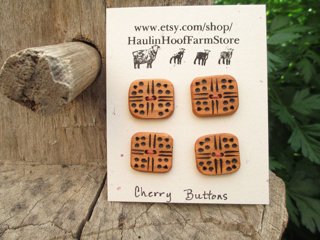 Cherry Wood Buttons - Wood burned