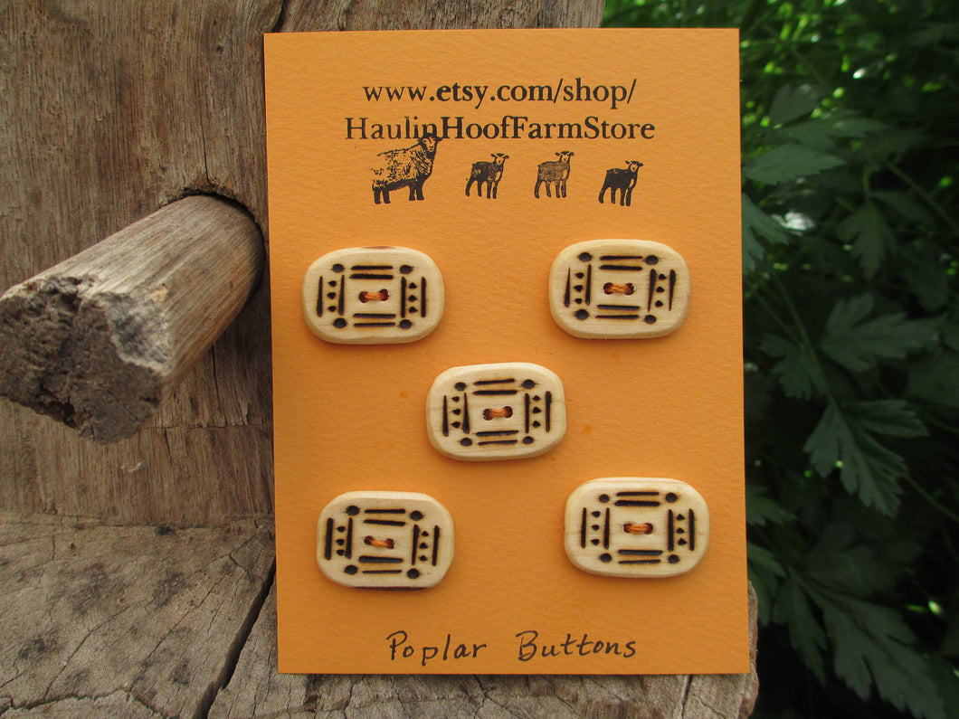 Poplar Wood Buttons - Wood burned