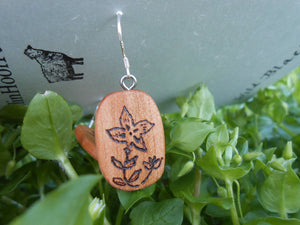 Cherry Wood Earrings - Wood Burned Flowers