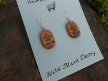 Load image into Gallery viewer, Cherry Wood Earrings - Wood Burned Flowers