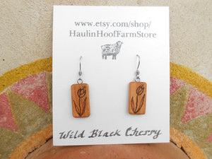 Cherry Wood Flower Earrings - Wood Burned