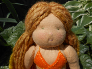 Organic Waldorf Mermaid Doll - 14 inch with with Hand-dyed + Hand-spun Wool Hair