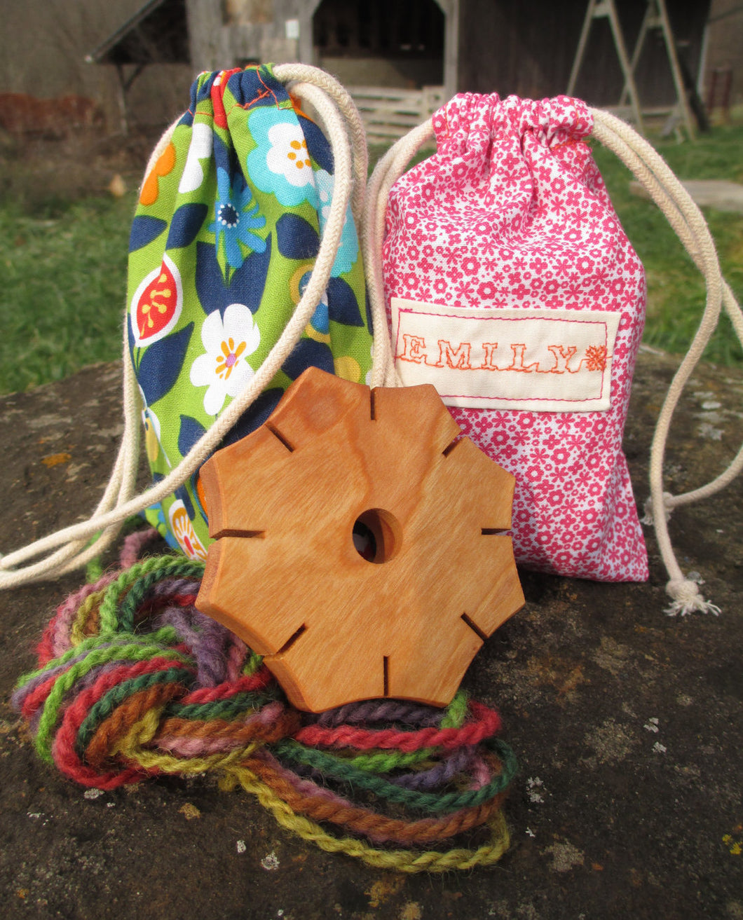 Braid Flower Kit with Hand-dyed Yarn and Keepsake Bag