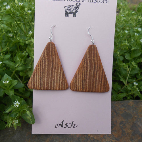 Ash Wood Earrings - Triangles