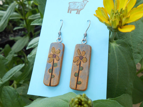 Cherry Wood Flower Earrings with Milk Paint Colors